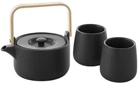 COFFRET THÉIÈRE 50 CL AVEC 2 MUGS 20 CL - FAÏENCE NOIRE - Arts de la table - LEPY  - Voir en grand