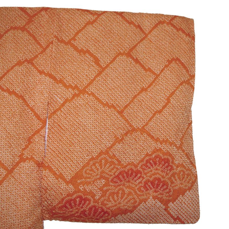 motif de montagne haori shibori en soie orange - Voir en grand