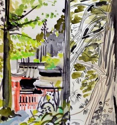 marie-antoilette hakone collant opaque 50 deniers motifs imprimé fantaisie japon gris rouge vert