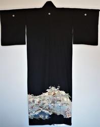 Kimono en soie femme noir traditionnel vintage - Dos- Comptoir du Japon - Voir en grand
