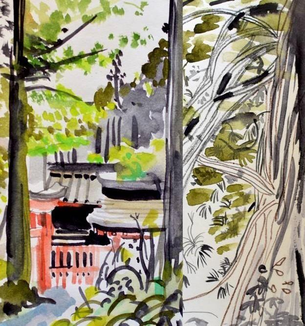 marie-antoilette hakone collant opaque 50 deniers motifs imprimé fantaisie japon gris rouge vert  - Voir en grand