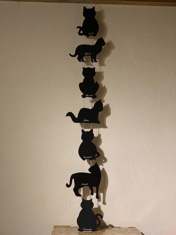 Tableau-noir-semainier-chats-Fruirouge-et-Cie - Voir en grand