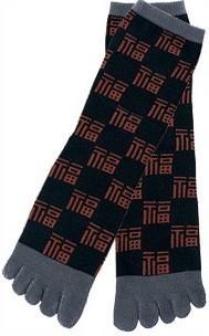 Chaussettes japonais hommes 5 orteils rouge noir - Comptoir du Japon - Voir en grand