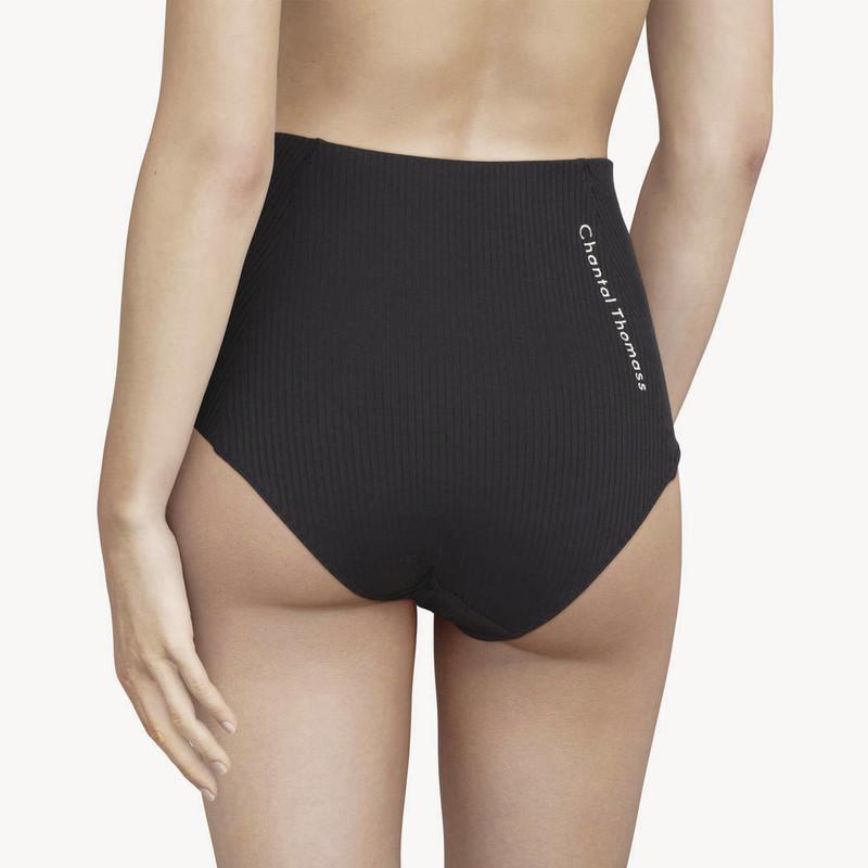 Chantal Thomass 211 Honoré culotte taille haute maille côtelée élastiques imprimé confort noir - Voir en grand