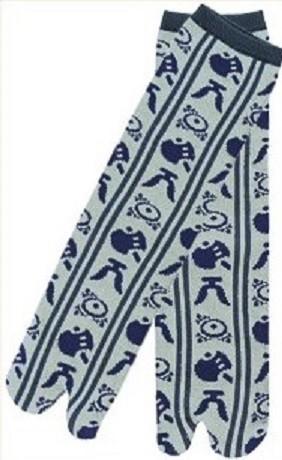 gris et symboles bleus - Chaussettes japonaises tabi pour homme - Voir en grand