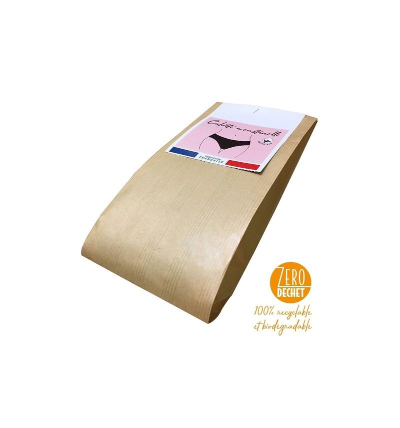 Achel Lemaiheu culotte menstruelle française coton bio noir absorbante intraversable sans coutures  - Voir en grand