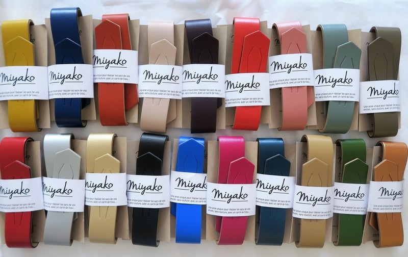 Anse cuir Miyako pour sac en furoshiki carré de tissu - Comptoir du Japon - Voir en grand