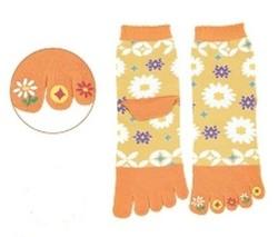 Chaussettes japonaises 5 orteils, imprimé jaune fleur - Voir en grand