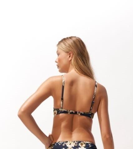Watercult Patchwork 7344 haut de bikini coqué tricolore imprimé floral fines bretelle clip biais  - Voir en grand