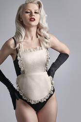 Marlies Dekkers Déesse de la cuisine body string noir tablier ivoire dentelle sexy - Voir en grand