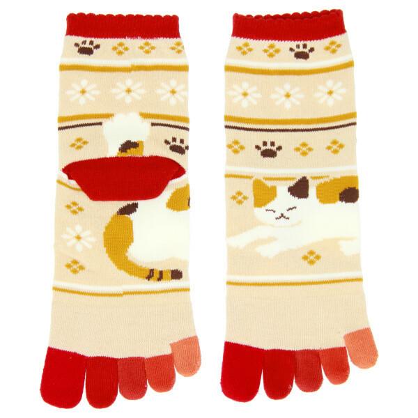 Chaussettes japonaises 5 orteils, chat - Comptoir du Japon - Voir en grand