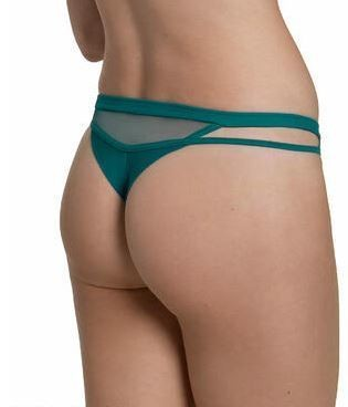 Lisca Illusion string ouvert turquoise multimatières tulle nylon broderie florale simili cuir sexy - Voir en grand