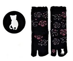 Chaussettes japonaises tabi, imprimé chat blanc - Voir en grand