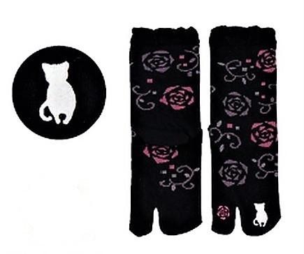 Chaussettes japonaises tabi, imprimé chat blanc - Comptoir du Japon - Voir en grand