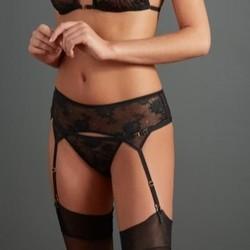 Atelier Amour irrésistible attraction porte-jarretelles noir voile transparent - Voir en grand