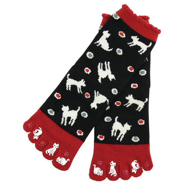 Chaussettes japonaises 5 orteils, imprimé chat - Comptoir du Japon - Voir en grand