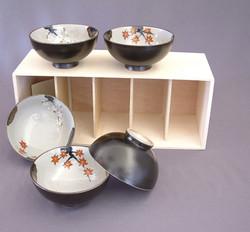 Set de 5 bols à riz noirs, porcelaine d'Arita - La table japonaise - Comptoir du Japon - Voir en grand