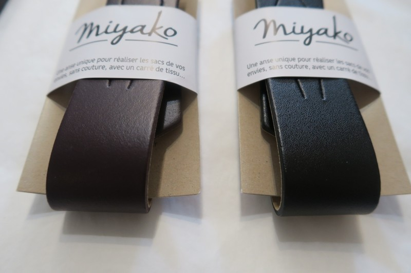 Anse cuir pour furoshiki - prune, noir - Comptoir du Japon - Voir en grand