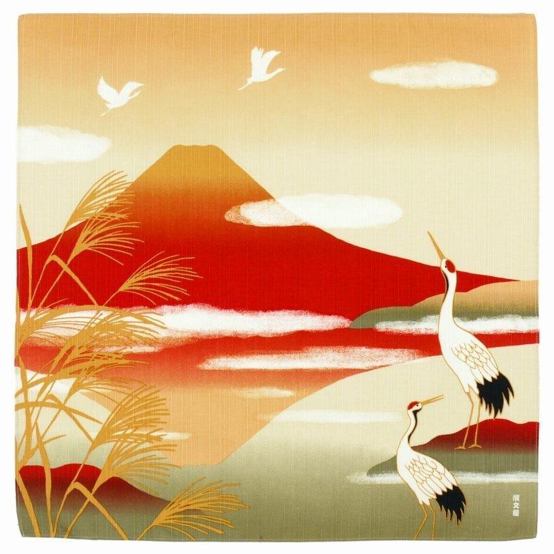 Furoshiki 50 cm grue et mont Fuji - Comptoir du Japon - Voir en grand
