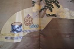 Veste japonaise Haori homme brun en soie, détail doublure soie - Comptoir du Japon - Voir en grand
