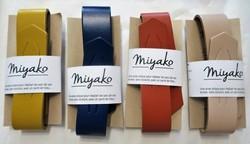 Anse cuir pour furoshiki carré de tissu - curry, bleu foncé, teracotta, nude - Comptoir du Japon