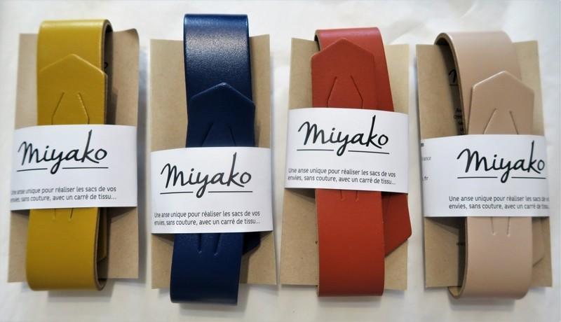 Anse cuir pour furoshiki carré de tissu - curry, bleu foncé, teracotta, nude - Comptoir du Japon - Voir en grand