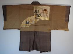 Authentique veste japonaise Haori homme brun en soie, belle doublure - Comptoir du Japon - Voir en grand