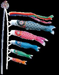 Koinobori multicolore - Carpe koi japonaise - Comptoir du Japon
