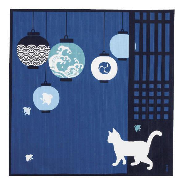 Furoshiki 50cm chat et lampion  - Voir en grand