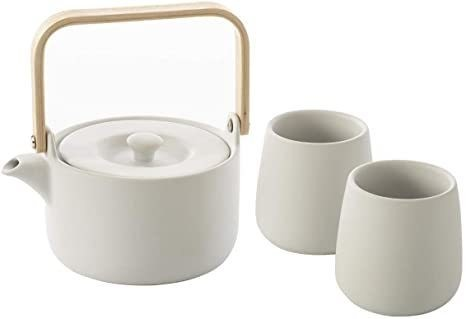 Coffret Théière 50 cl avec 2 Mugs 20 cl - Faïence blanche - Arts de la table - LEPY  - Voir en grand