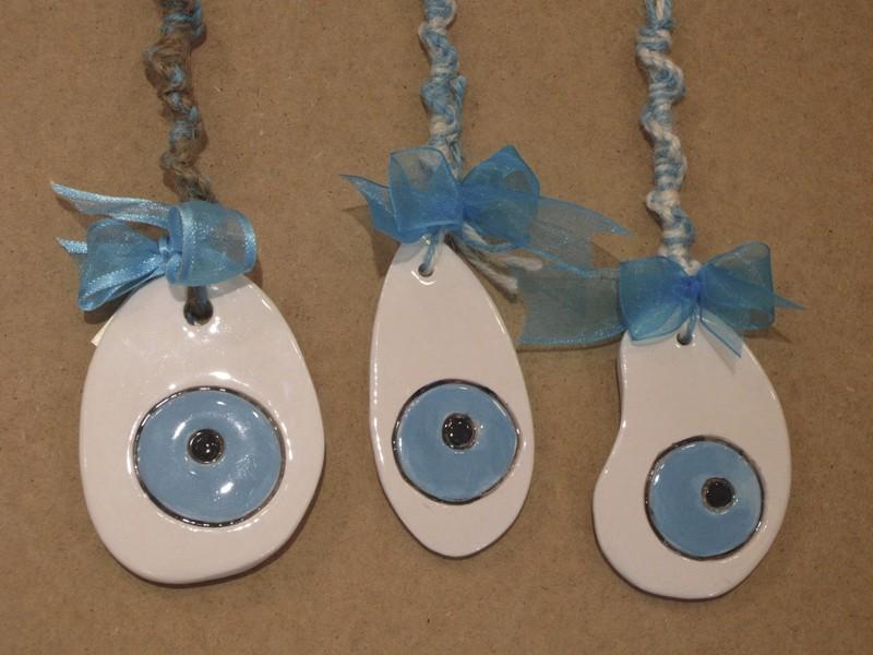 Porte bonheur avec oeil en céramique Grec -  - La Grèce Gourmande - Voir en grand