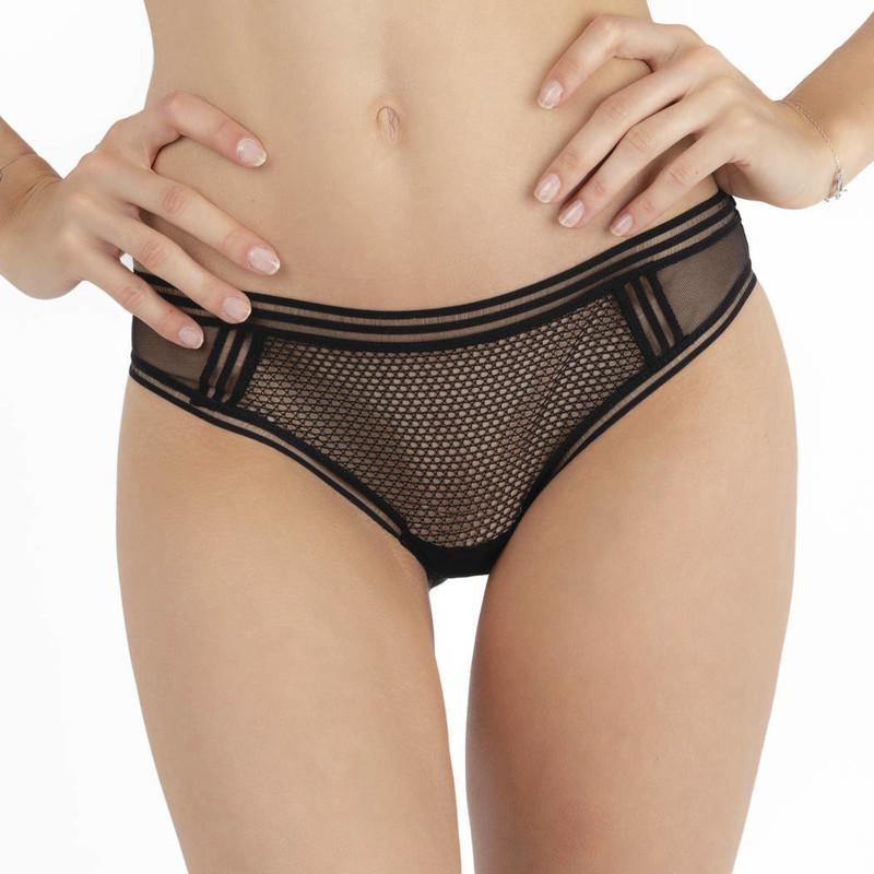 Chantal Thomass Addicte culotte noir résille voile nylon transparent  - Voir en grand