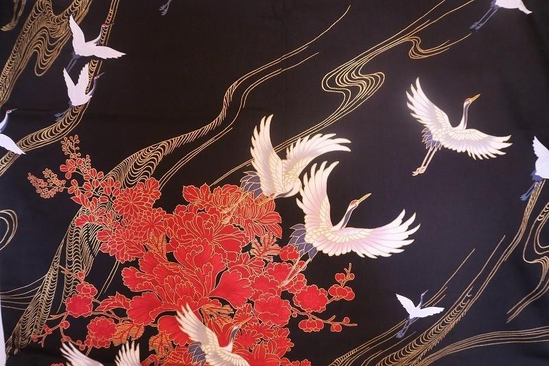 Kimono grues en vol noir - Comptoir du Japon - Voir en grand