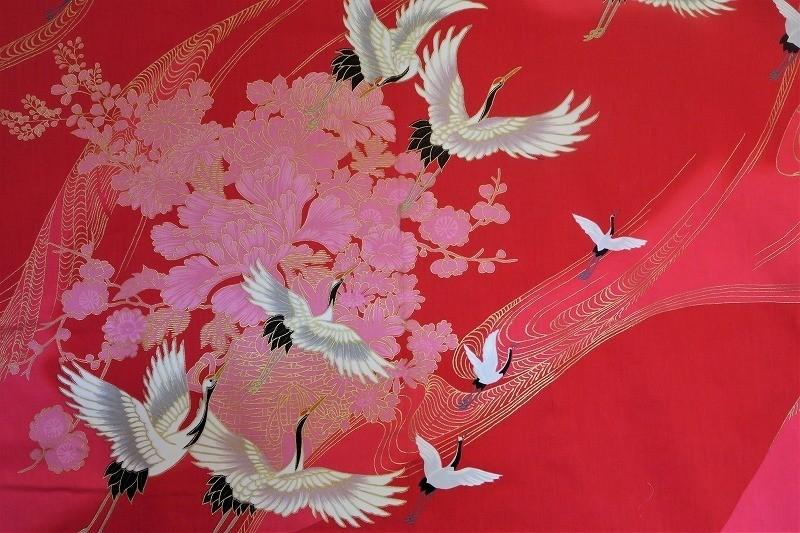 Kimono grues en vol rouge - Comptoir du Japon - Voir en grand