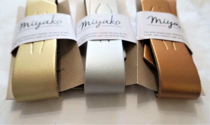 Anse cuir pour furoshiki - or, argent, cuivre - Comptoir du Japon - Voir en grand
