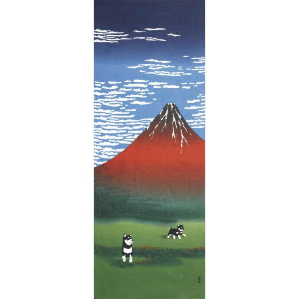 Tenugui décoratif, shiba inu mont Fuji Hokusai - Comptoir du Japon - Voir en grand