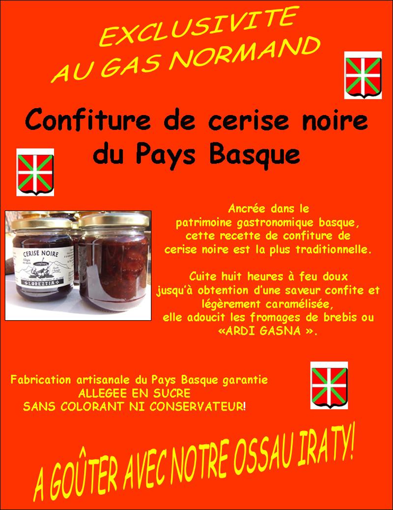 Confiture à la cerise noire du Pays Basque - Pyrénées - FROMAGERIE AU GAS NORMAND - DIJON - Voir en grand