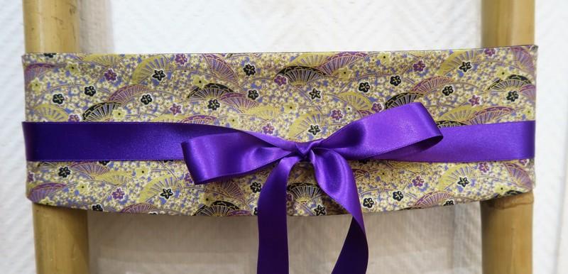 Ceinture obi tissu japonais création française - Ruban violet - Comptoir du Japon - Voir en grand
