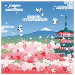 Furoshiki 50 cm  Pagode et Fuji au printemps - Comptoir du Japon - Voir en grand