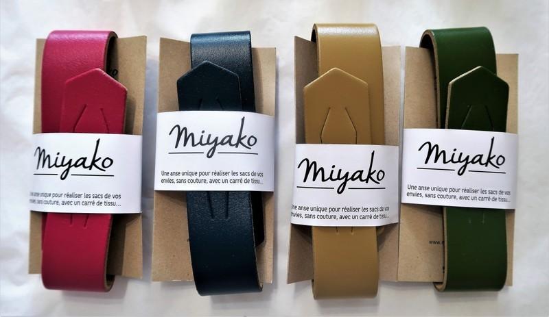 Anse cuir pour furoshiki  - framboise, bleu canard, sable, olive - Comptoir du Japon - Voir en grand