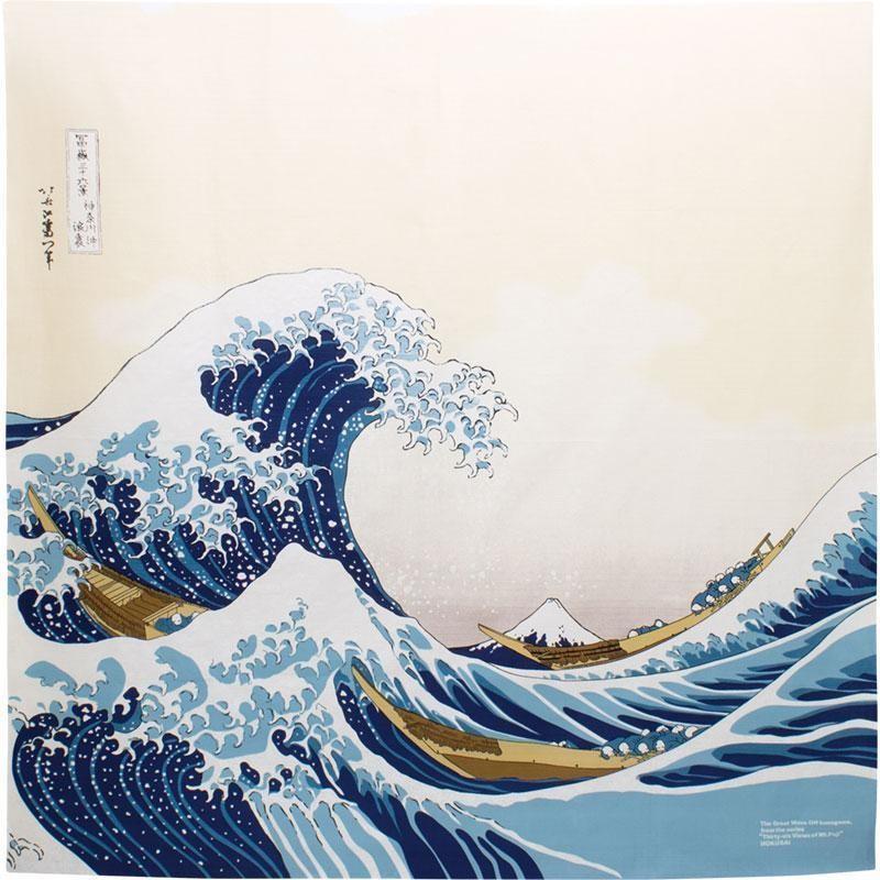 Furoshiki 105cm, carré de tissu japonais,  Hokusai Kanagawa - Comptoir du Japon - Voir en grand