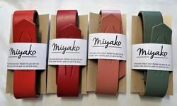 Anse cuir pour furoshiki carré de tissu - vermillon, rouge, rose canyon, kaki - Comptoir du Japon