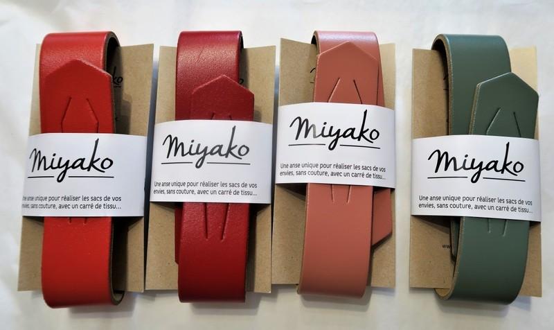 Anse cuir pour furoshiki carré de tissu - vermillon, rouge, rose canyon, kaki - Comptoir du Japon - Voir en grand