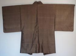 Authentique veste japonaise Haori homme brun en soie, dos - Comptoir du Japon - Voir en grand