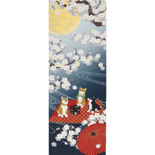Tenugui décoratif, mame shiba sakura - Comptoir du Japon - Voir en grand
