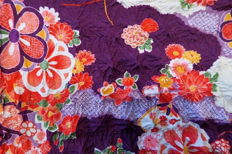 """Eco bag ou sac d'appoint """"magique"""" shibori, motifs japonais - violet - Comptoir du Japon - Voir en grand"""