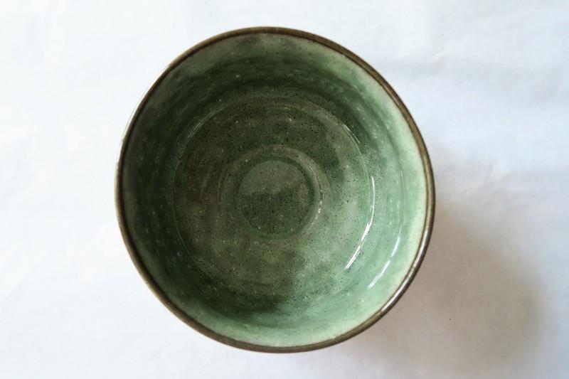 Bol à matcha cérémonie du thé vert - Intérieur vert - Comptoir du Japon - Voir en grand