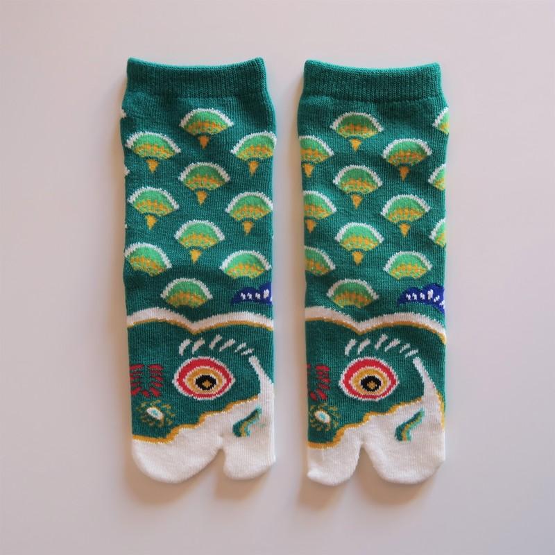 Chaussettes japonaises tabi pour enfant, vert, carpe koi, taille 24 à 28 - Comptoir du Japon - Voir en grand