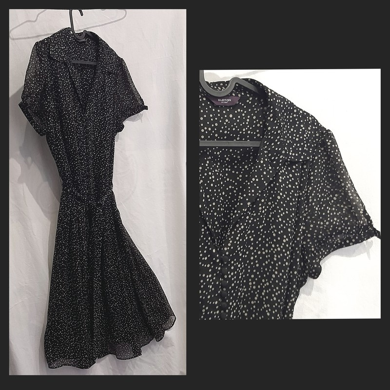 Robe Noire Mi longueur- Burton -  Ronde des mois, Danse des pois - La commode de Juliette & Victor - Voir en grand