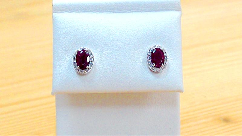 Boucles d'Oreilles A15545/Rubis1.28Crt/ Diamants0.15Crt - Boucles d'oreilles Rubis - La Couronne d'or - Voir en grand